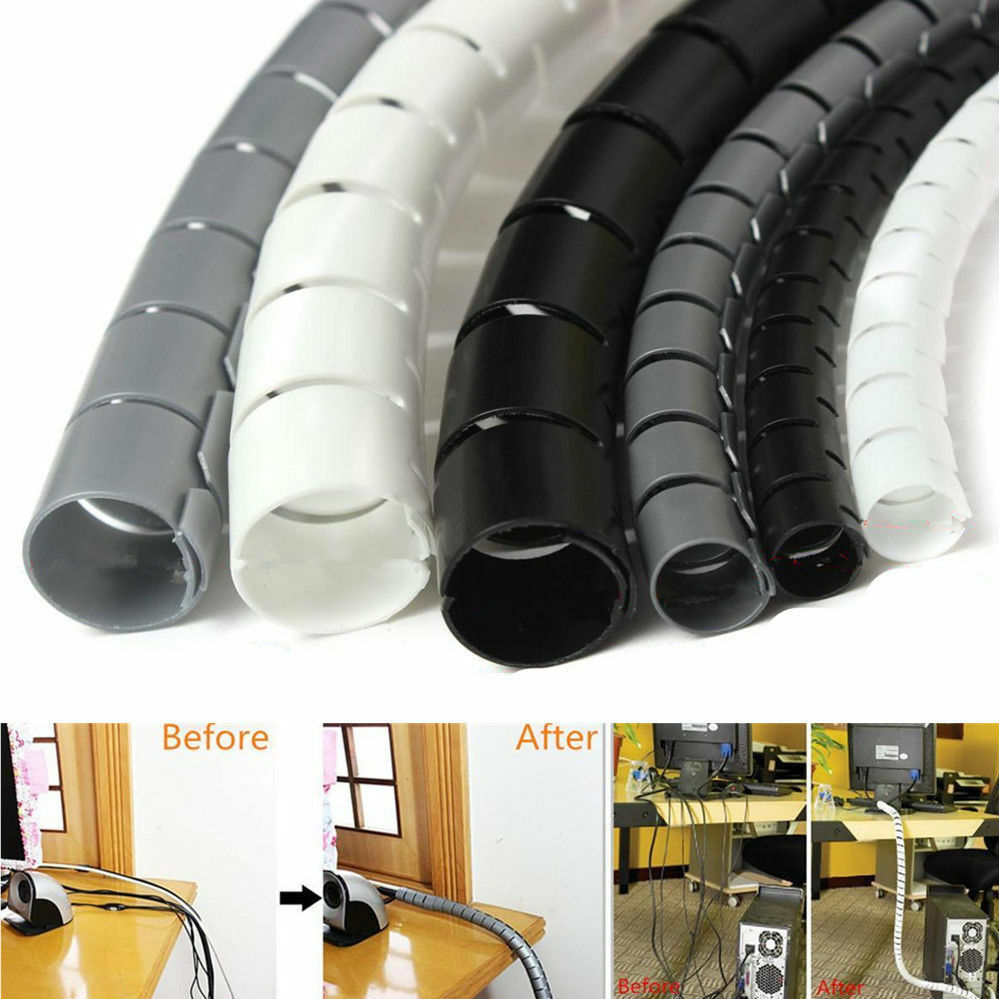 2M Cable Hide Wrap Tube 10//25mm Organizer /& Management Wire Spiral Flexible SL