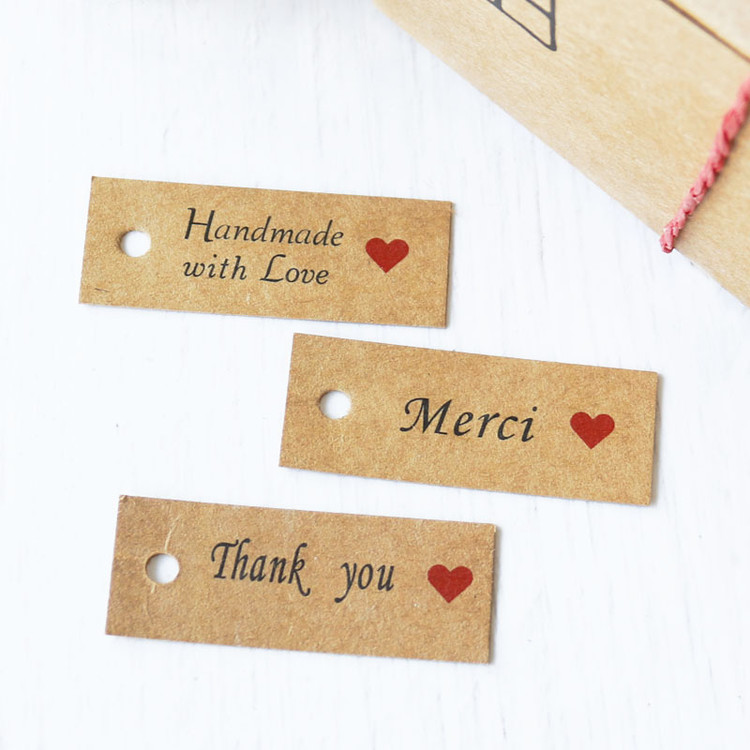 100x Handmade with Love Kraft Paper Card Gift Tag Label Craft DIY Wedding P6T8