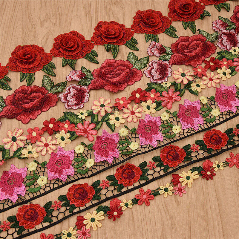 1 Yard Flower Lace Trim Rose Embroidered Ribbon Clothing Sewing Fringe Craft DIY