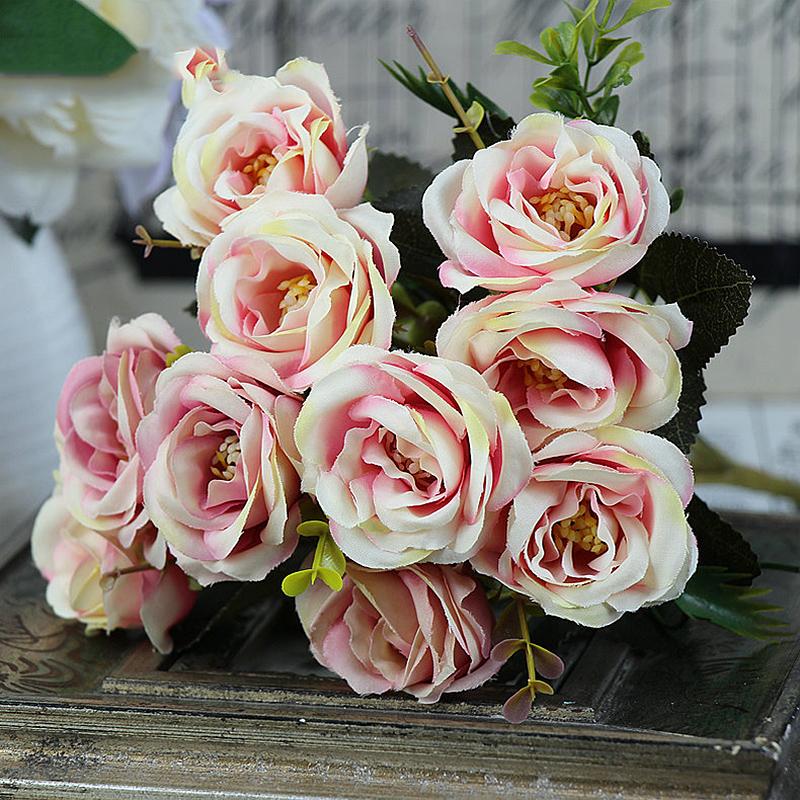 10 Heads Artificial Flower Camellia Silk Bouquet Fake Wedding Home Party Decor