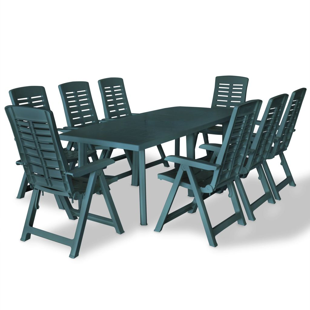 Remarkable Details About Set 9 Piece Outdoor Dining Set Plastic Green Table Chairs Folding Chair Garden Cjindustries Chair Design For Home Cjindustriesco