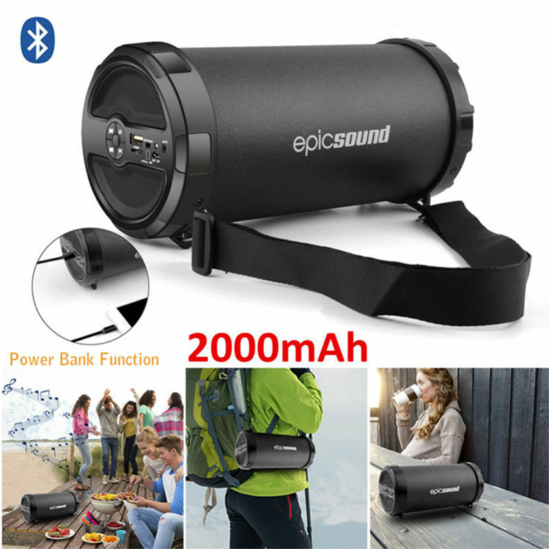Portable Wireless Bluetooth Speaker Boombox Bass StereoHiFi Cylinder SD FM Radio