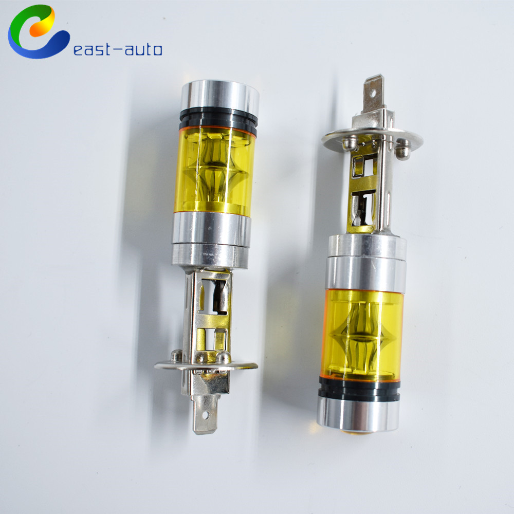 2pcs  H1 4300K 100W LED YELLOW 20-SMD Projector Fog Driving DRL Light Bulbs