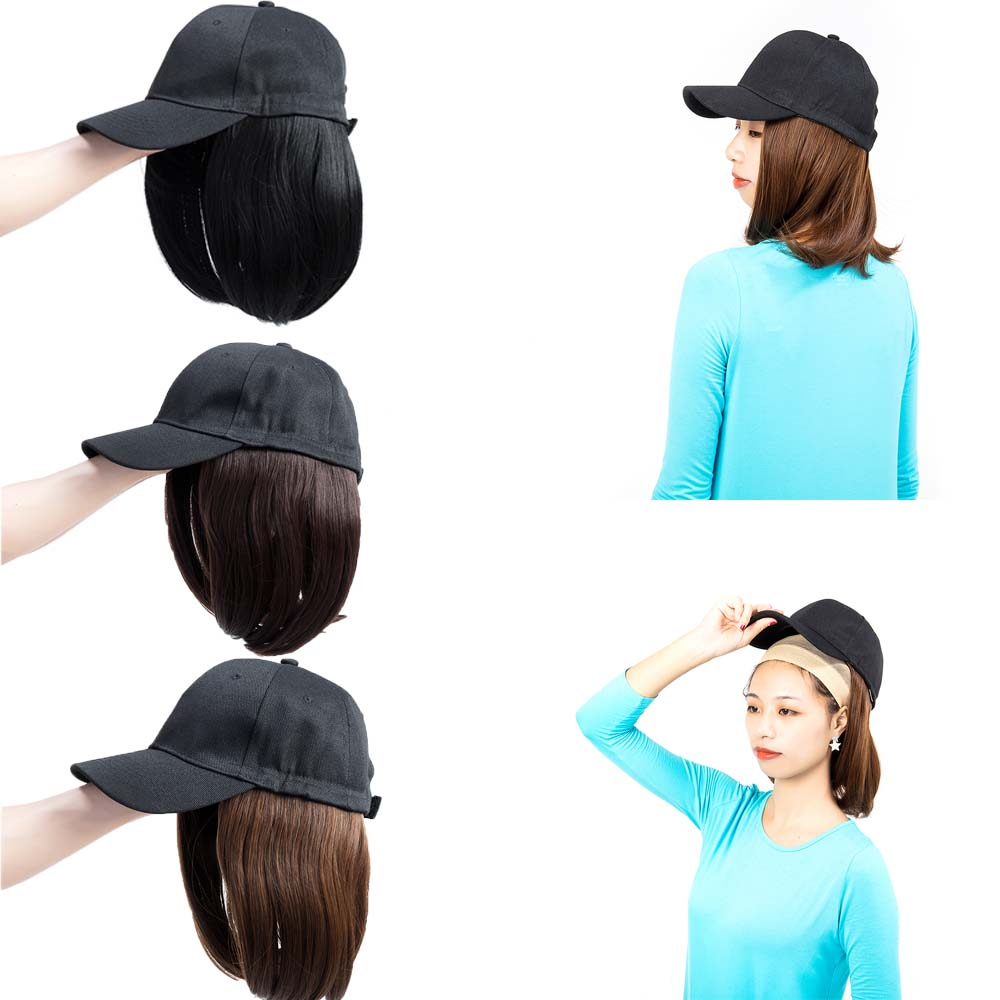 Short-Hair-Baseball-Cap-with-Wigs-Black-Hat-Synthetic-Full-Wigs-Short-Straight thumbnail 2