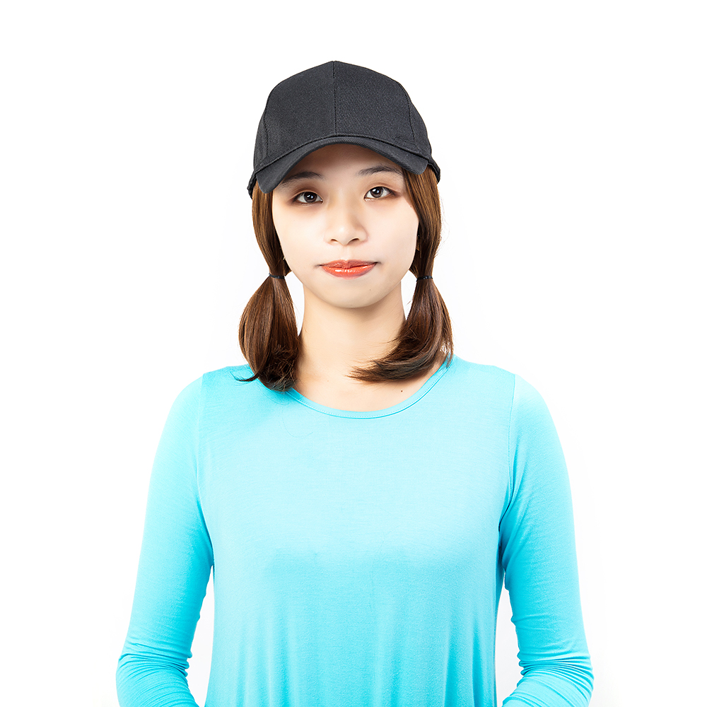 Short-Hair-Baseball-Cap-with-Wigs-Black-Hat-Synthetic-Full-Wigs-Short-Straight thumbnail 7