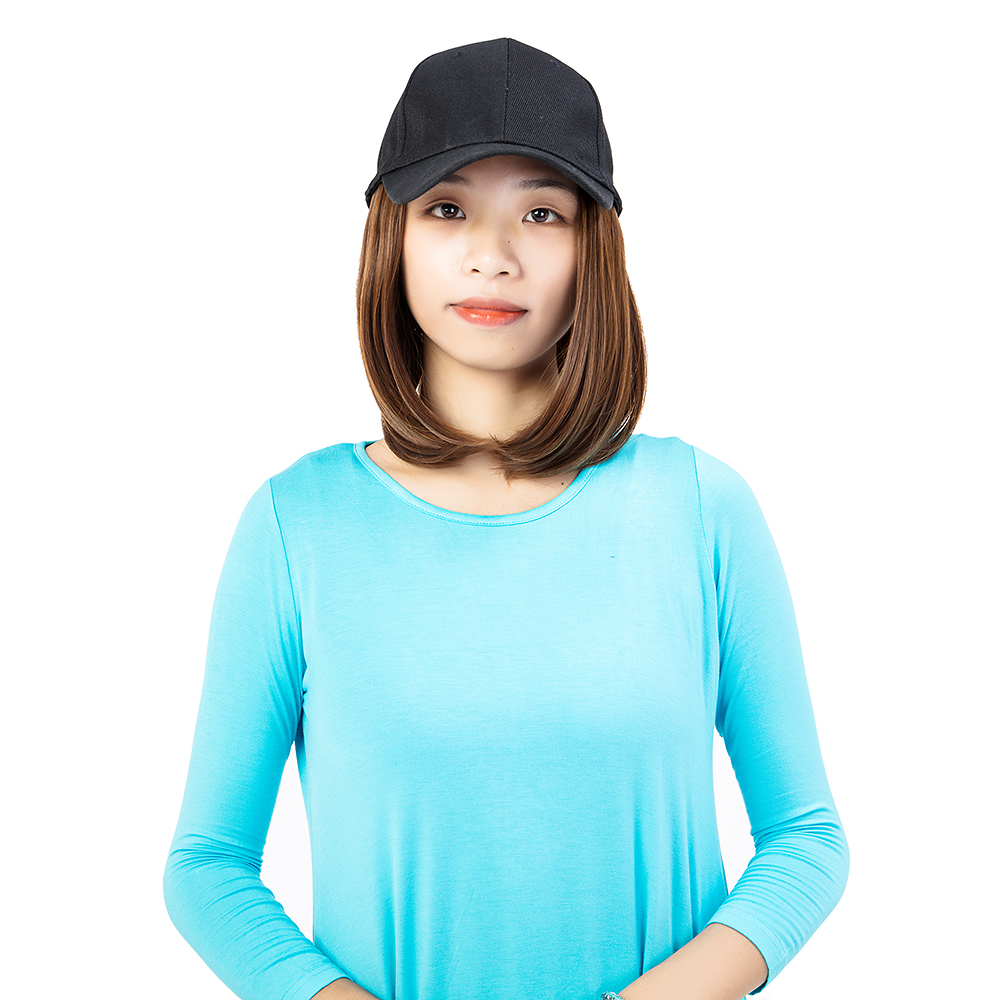 Short-Hair-Baseball-Cap-with-Wigs-Black-Hat-Synthetic-Full-Wigs-Short-Straight thumbnail 9