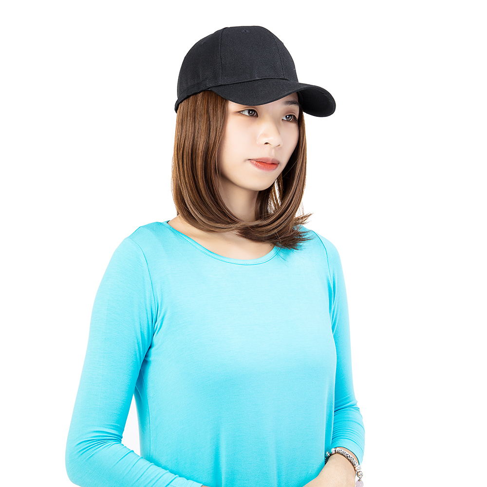 Short-Hair-Baseball-Cap-with-Wigs-Black-Hat-Synthetic-Full-Wigs-Short-Straight thumbnail 10