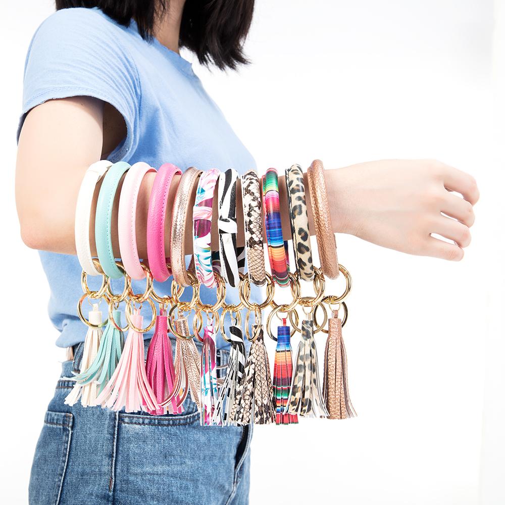 Leather Wristlet Tassel Keychain Bracelet Bangle Key Holder