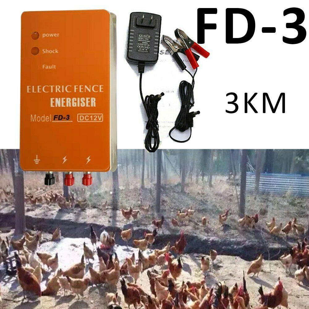 DC12V-AC220V-Solar-Electric-Fence-Energizer-Charger-For-Poultry-Horse-Pig-Dog thumbnail 2