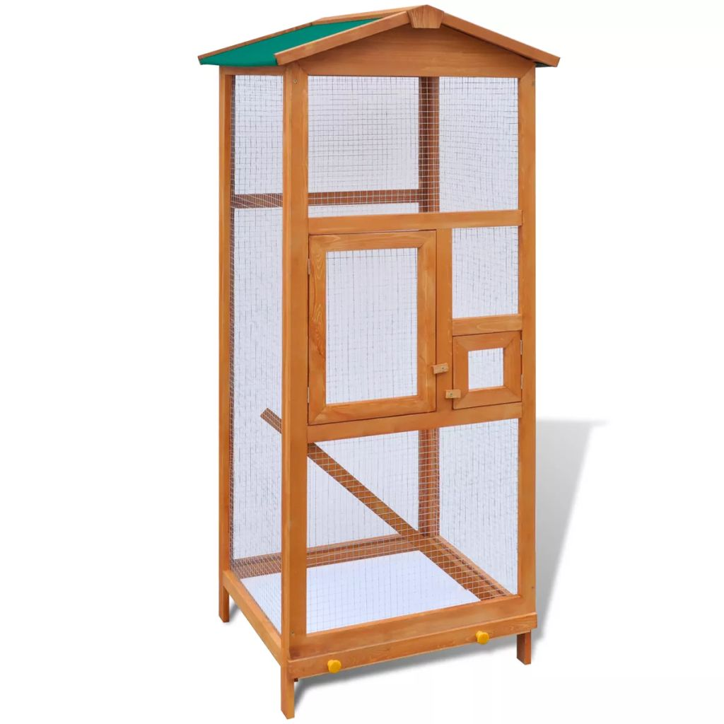 Large Aviary Bird Finch Cage Parakeet Pet Wood House Outdoor