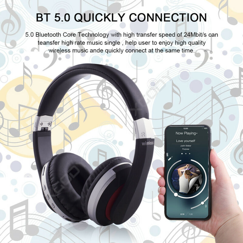 Wireless-Bluetooth-5-0-Headphone-Foldable-Stereo-Earphone-Super-Bass-Headset-Mic thumbnail 9