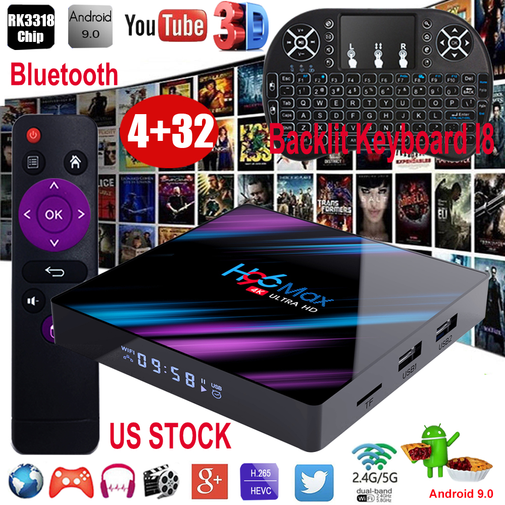 H96 MAX Android 9.0 4+32G Backlit I8 4K 3D TV BOX Quad Core 2.4/5G WIFI BT HDMI android backlit box core h96 hdmi max quad wifi