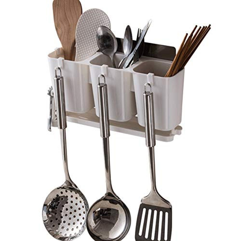 Details about Wall Mounted 3 Divided Holes Kitchen Utensils Holder Basket  Flatware Organizer