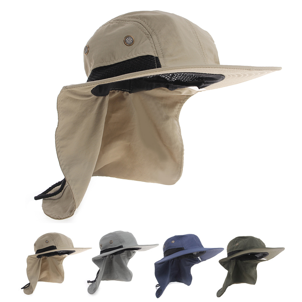 425191b3eb5 Details about Boonie Fishing Boating Hiking Snap Hat Brim Ear Neck Cover  Bucket Sun Flap Cap
