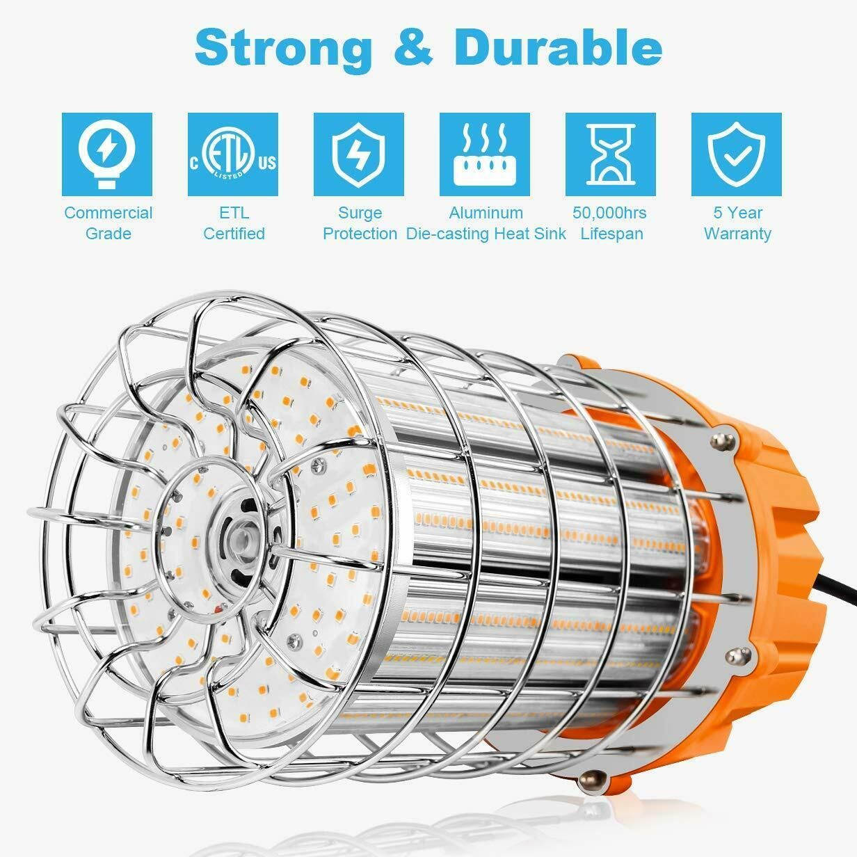 100W Hanging LED Temporary Work Light 14500LM High Bay Basement Tunnel Workshop