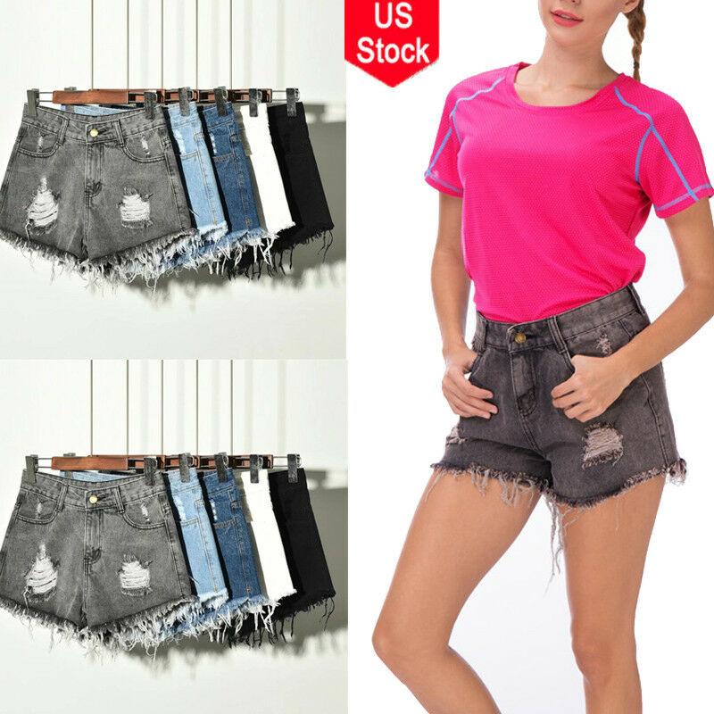 Plus Size Summer Women High Waist Short Jeans Denim Hot Beach Pants Girl Shorts