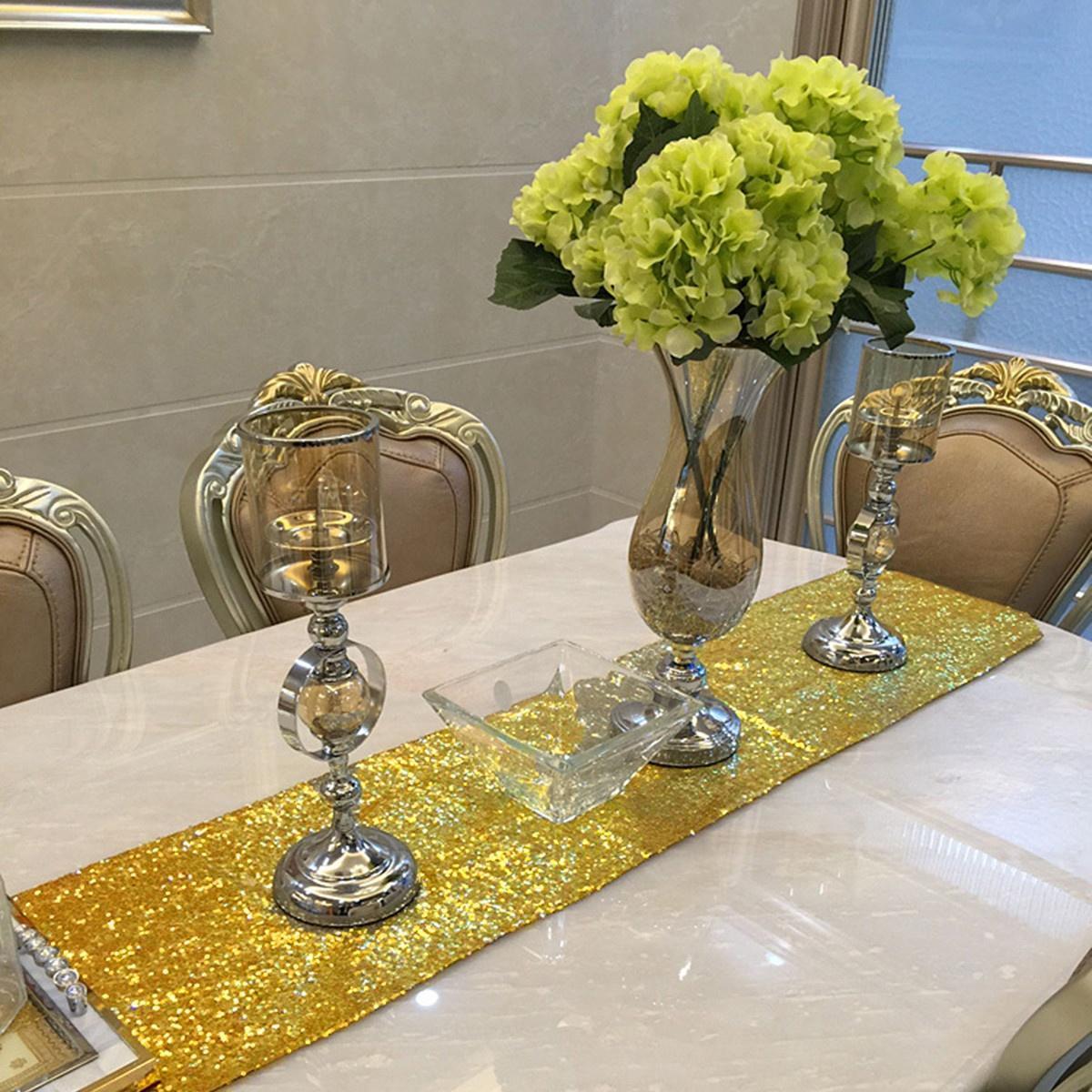 12-034-x72-039-039-108-034-118-034-Sparkle-Paillettes-Table-Runner-Tissu-Mariage-Banquet-Fete-Decor miniature 19