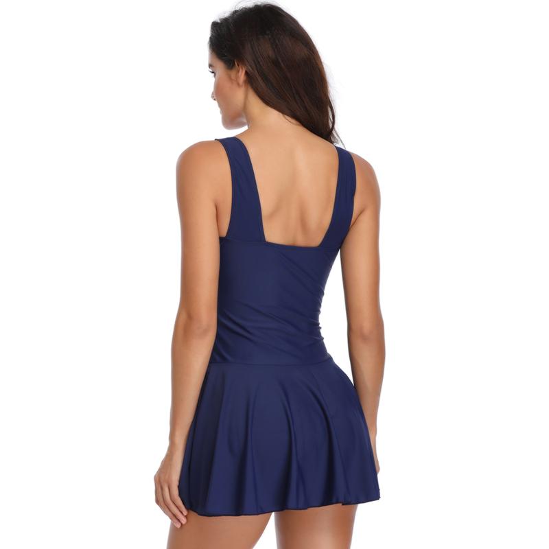 Women-Plus-Size-Swimwear-Swimsuit-Two-Piece-Swimdress-with-Shorts-Push-up-Padded thumbnail 14
