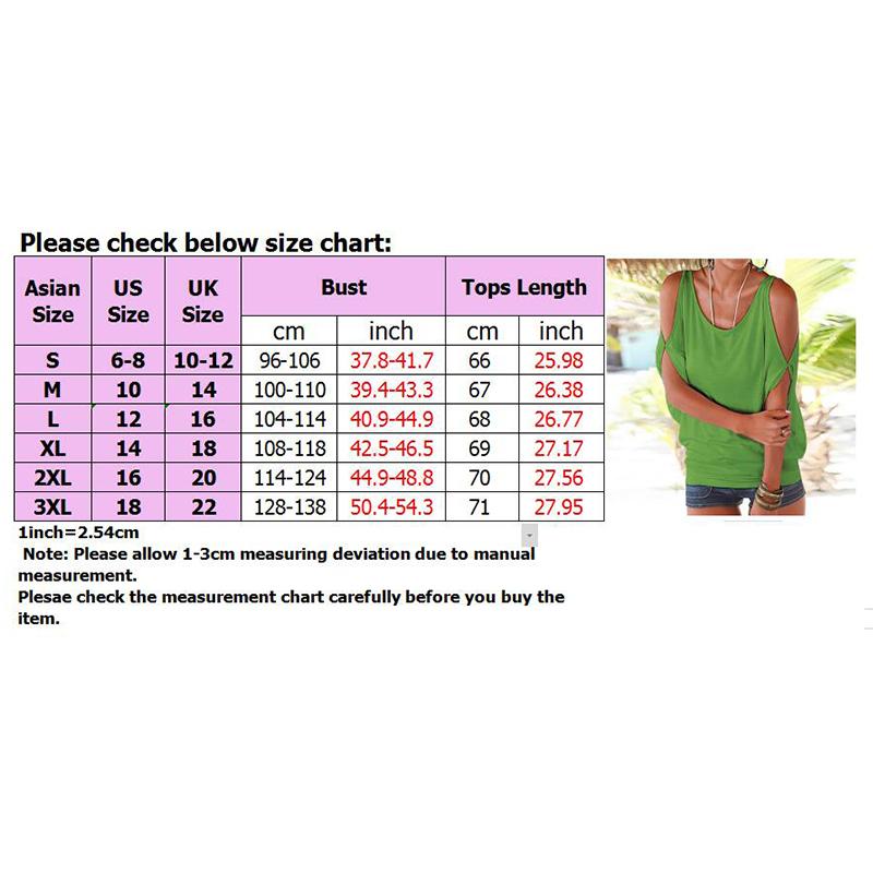 Femmes-Summer-Froid-Epaule-Tee-Top-Chemisier-Decoupe-Chauve-souris-manches-Casual-Tops-T-Shirt miniature 16
