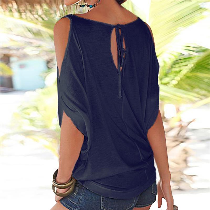 Femmes-Summer-Froid-Epaule-Tee-Top-Chemisier-Decoupe-Chauve-souris-manches-Casual-Tops-T-Shirt miniature 21