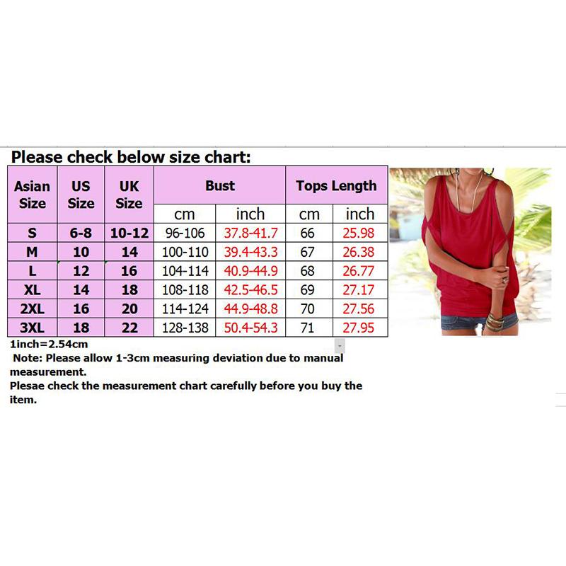 Femmes-Summer-Froid-Epaule-Tee-Top-Chemisier-Decoupe-Chauve-souris-manches-Casual-Tops-T-Shirt miniature 28