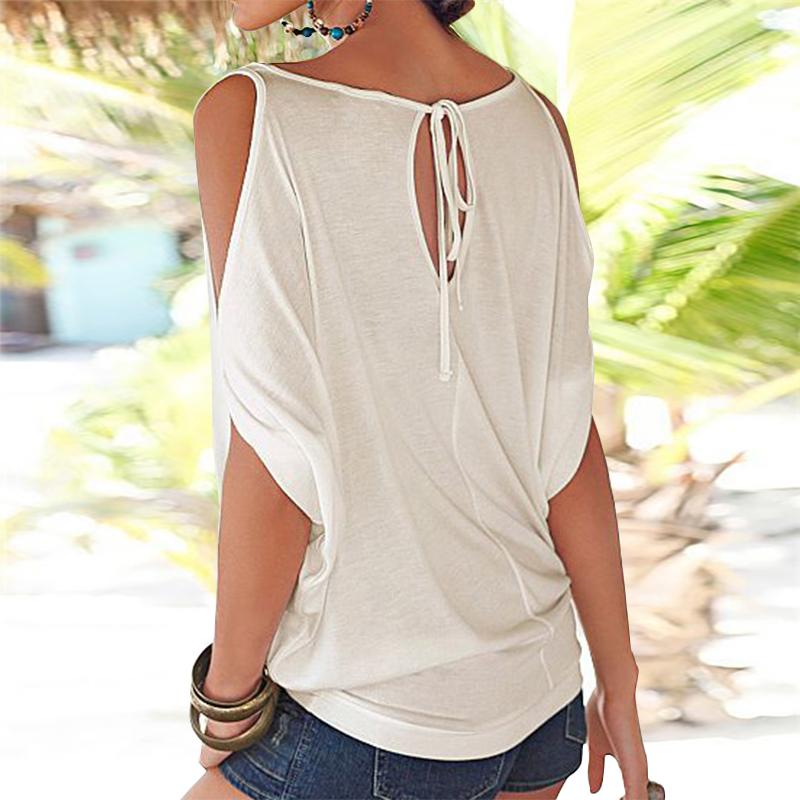 Femmes-Summer-Froid-Epaule-Tee-Top-Chemisier-Decoupe-Chauve-souris-manches-Casual-Tops-T-Shirt miniature 31