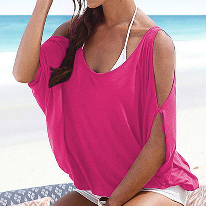 Femmes-Summer-Froid-Epaule-Tee-Top-Chemisier-Decoupe-Chauve-souris-manches-Casual-Tops-T-Shirt miniature 35