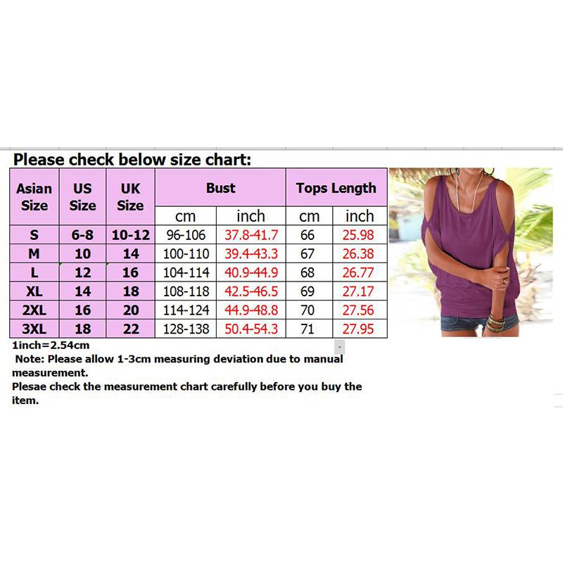 Femmes-Summer-Froid-Epaule-Tee-Top-Chemisier-Decoupe-Chauve-souris-manches-Casual-Tops-T-Shirt miniature 45