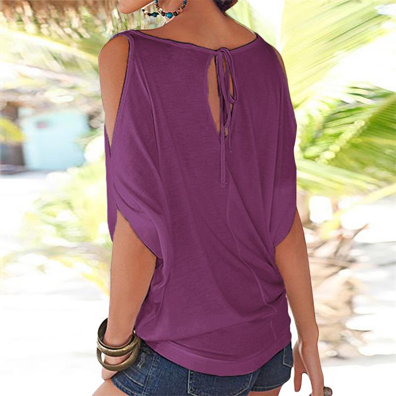 Femmes-Summer-Froid-Epaule-Tee-Top-Chemisier-Decoupe-Chauve-souris-manches-Casual-Tops-T-Shirt miniature 46