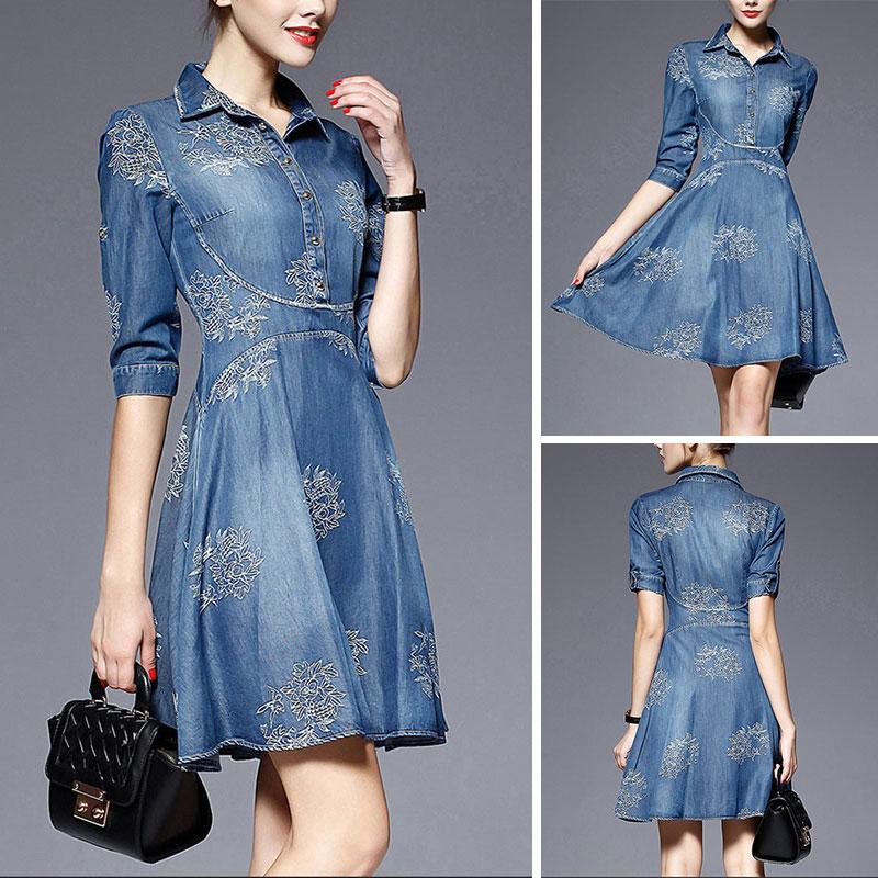 Details about Women Plus Size Embroidery Mini Denim Jean Dress Casual Jean  Bodycon Shirt Skirt