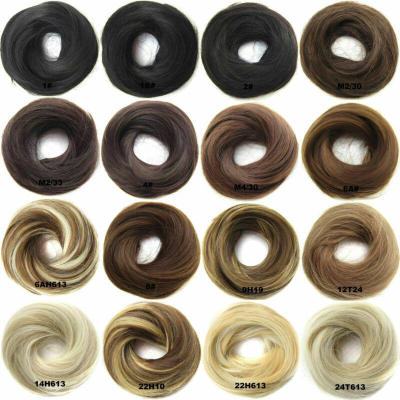 US-Womens-Girls-Donut-Hair-Scrunchie-Natural-Easy-Bun-Hair-Piece-Up-Do-Extension thumbnail 2