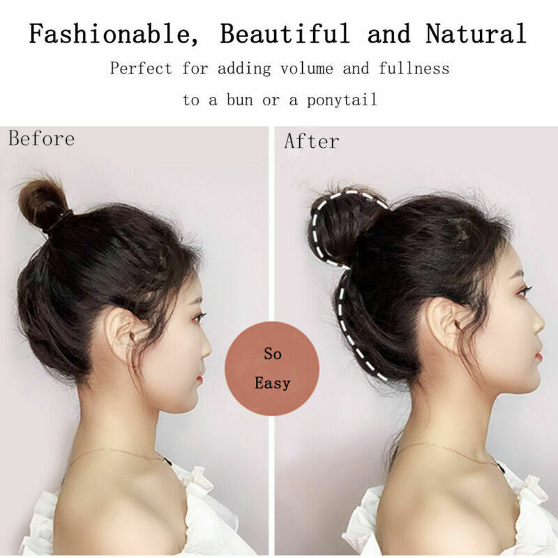 US-Womens-Girls-Donut-Hair-Scrunchie-Natural-Easy-Bun-Hair-Piece-Up-Do-Extension thumbnail 4