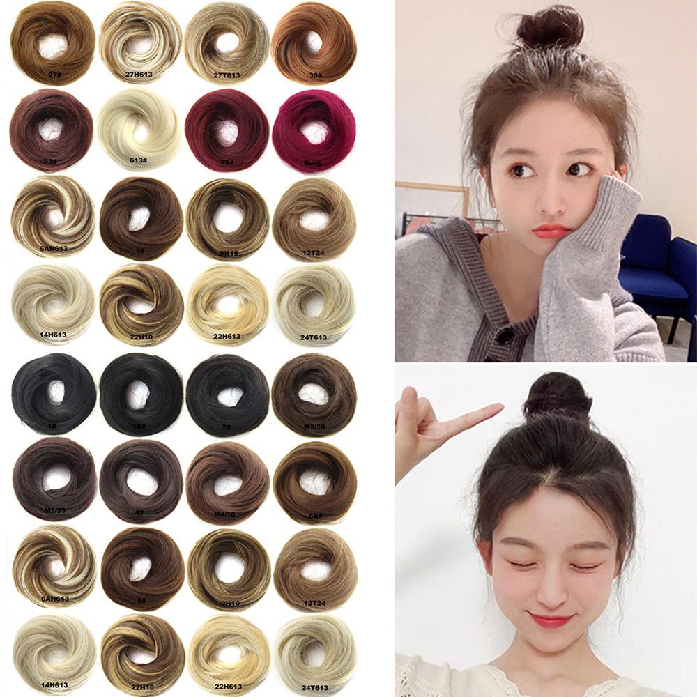 US-Womens-Girls-Donut-Hair-Scrunchie-Natural-Easy-Bun-Hair-Piece-Up-Do-Extension