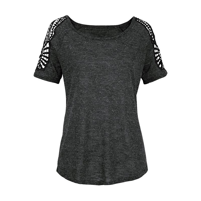Summer-Women-V-Neck-T-shirt-Loose-Casual-Lace-Crochet-Short-Sleeve-Tops-Blouse thumbnail 13