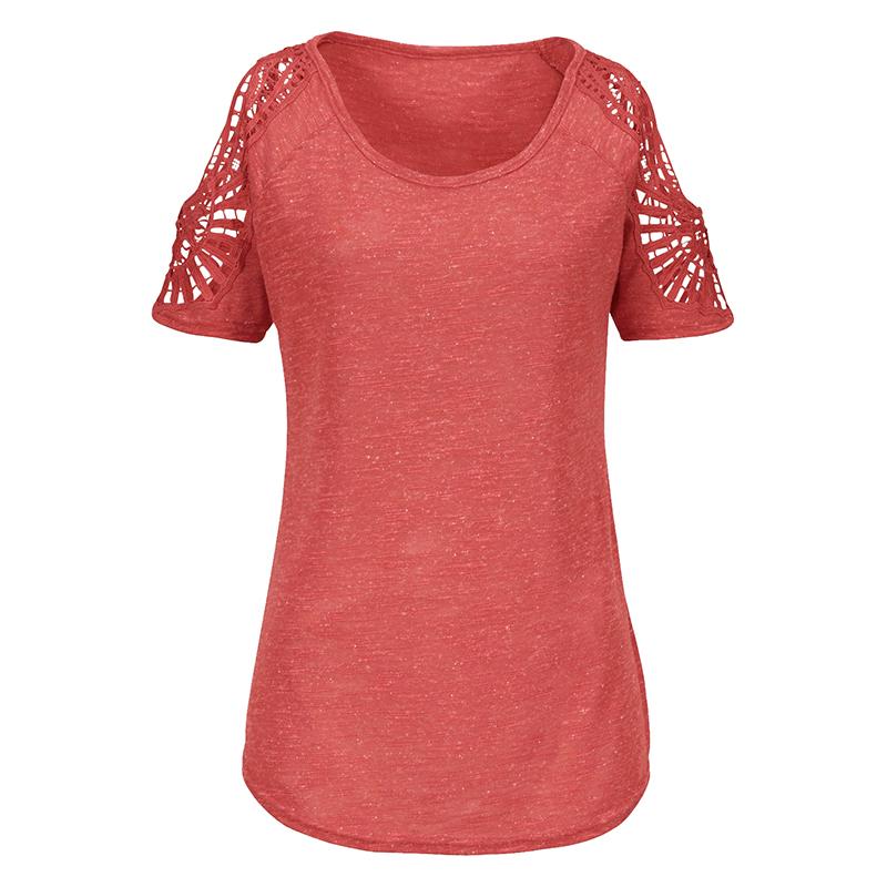 Summer-Women-V-Neck-T-shirt-Loose-Casual-Lace-Crochet-Short-Sleeve-Tops-Blouse thumbnail 14