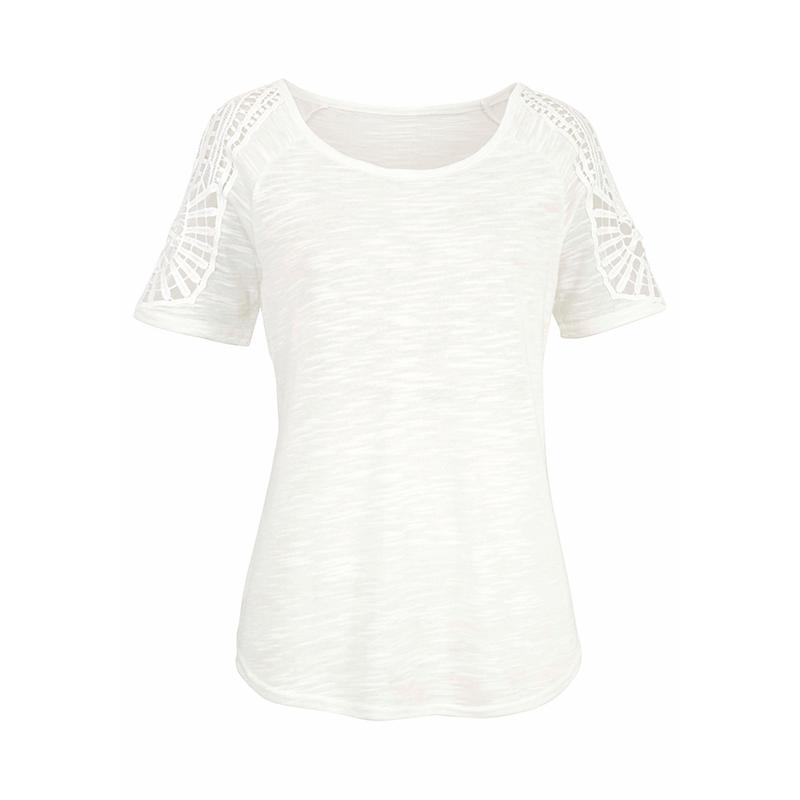 Summer-Women-V-Neck-T-shirt-Loose-Casual-Lace-Crochet-Short-Sleeve-Tops-Blouse thumbnail 18
