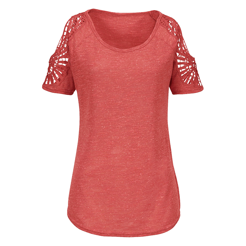 Summer-Women-V-Neck-T-shirt-Loose-Casual-Lace-Crochet-Short-Sleeve-Tops-Blouse thumbnail 26