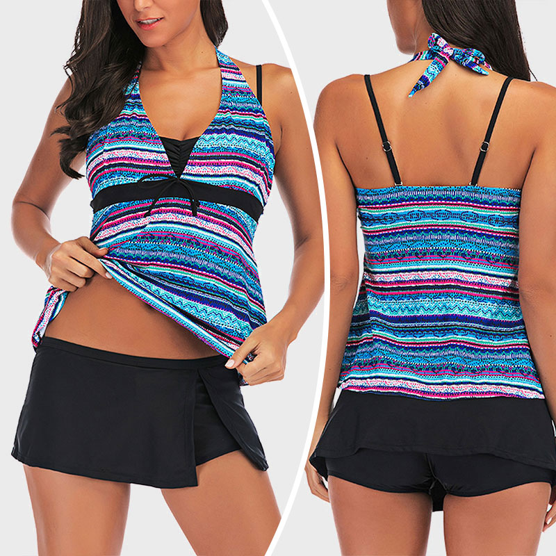 Striped Tankini Set Push-up Padded Tummy Control Swimwear Women Swim Top+Shorts
