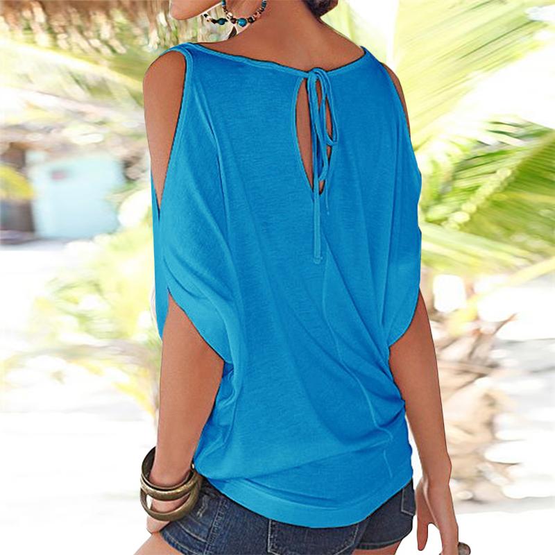 Femmes-Summer-Froid-Epaule-Tee-Top-Chemisier-Decoupe-Chauve-souris-manches-Casual-Tops-T-Shirt miniature 41