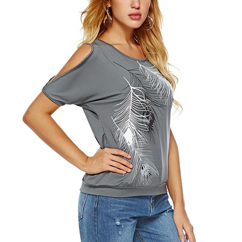 Femmes-Summer-Froid-Epaule-Tee-Top-Chemisier-Decoupe-Chauve-souris-manches-Casual-Tops-T-Shirt miniature 62