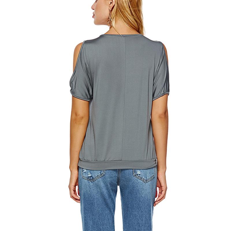 Femmes-Summer-Froid-Epaule-Tee-Top-Chemisier-Decoupe-Chauve-souris-manches-Casual-Tops-T-Shirt miniature 63