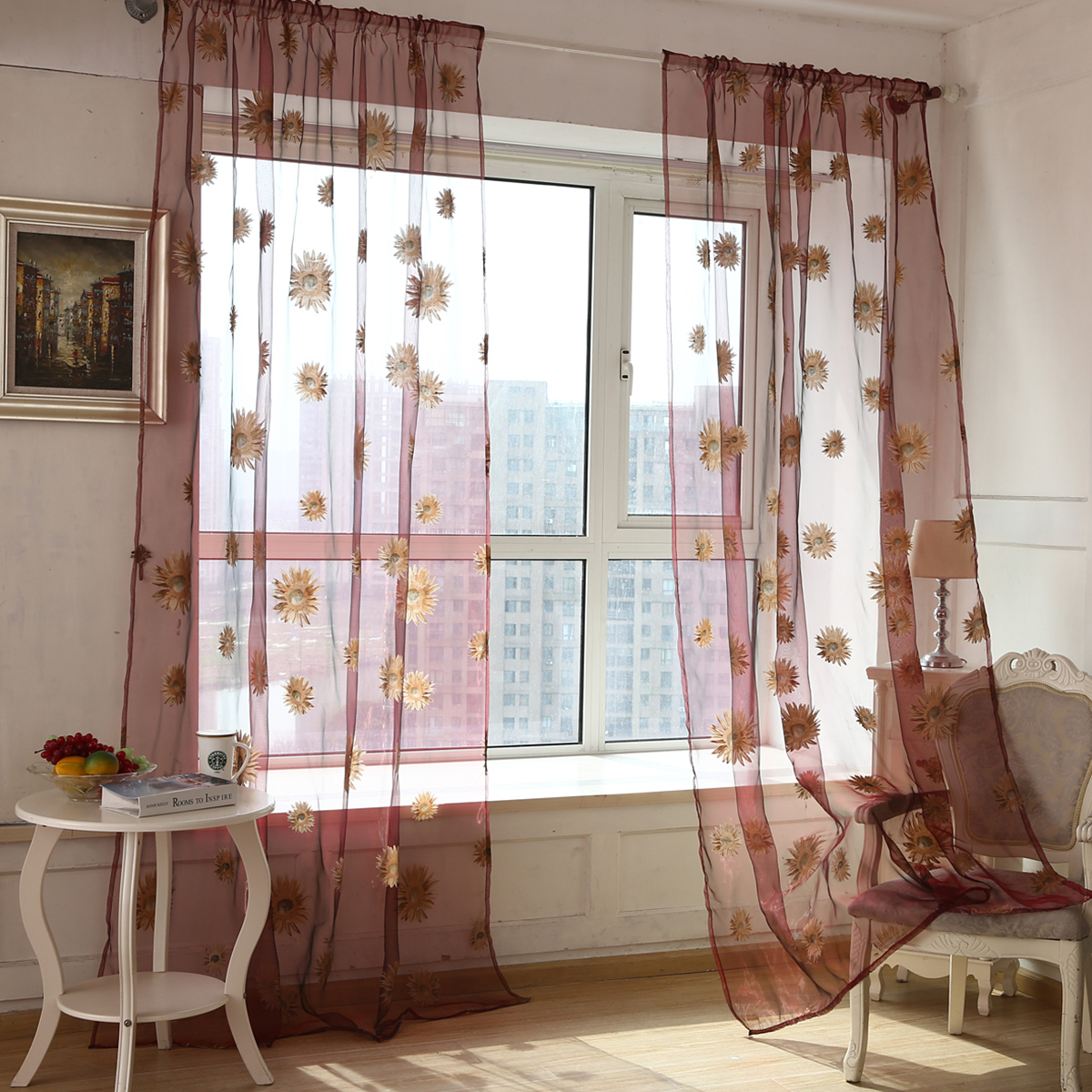 1//2 Panel Net Voile Curtains Slot Top Sheer Curtain Window Sliding Door Decor UK