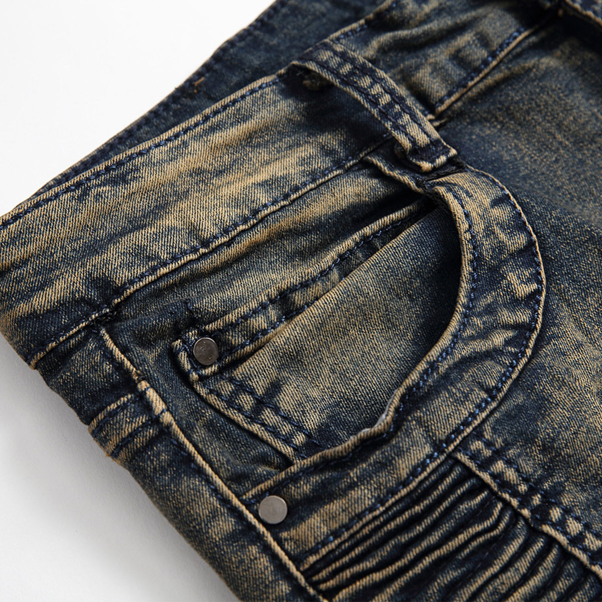 Men-039-s-Skinny-Biker-Jeans-Destroyed-Slim-Fit-Denim-Ripped-Pencil-Pants-Trousers thumbnail 17