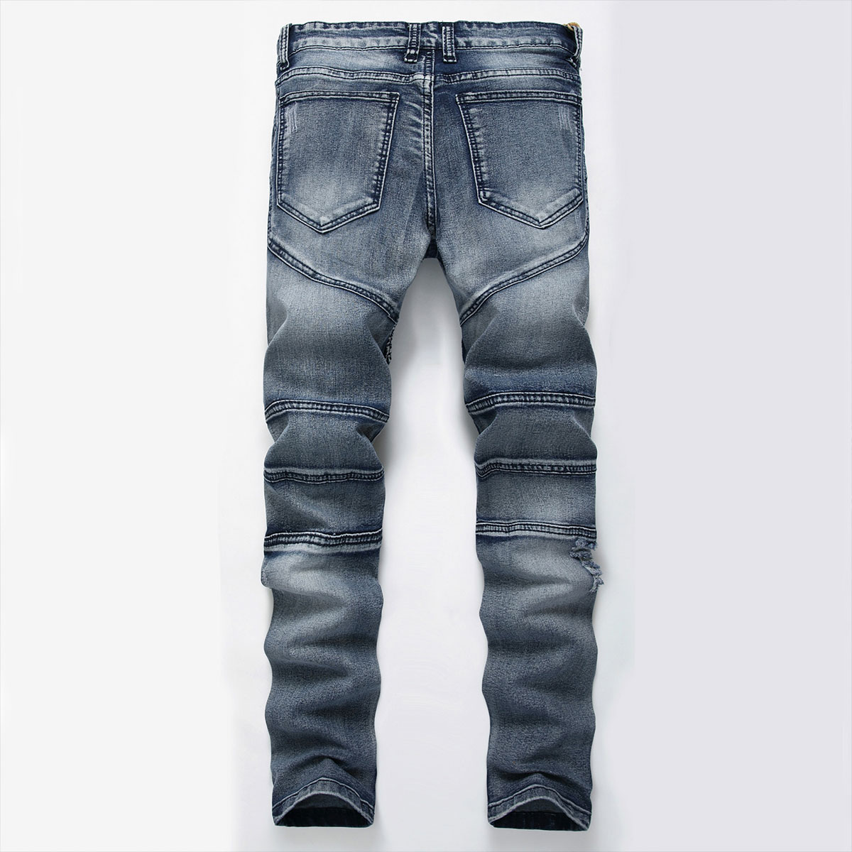 Men-039-s-Skinny-Biker-Jeans-Destroyed-Slim-Fit-Denim-Ripped-Pencil-Pants-Trousers thumbnail 20