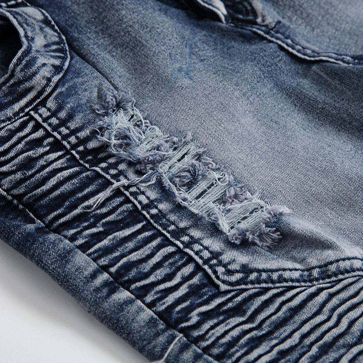 Men-039-s-Skinny-Biker-Jeans-Destroyed-Slim-Fit-Denim-Ripped-Pencil-Pants-Trousers thumbnail 23