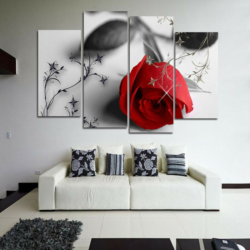 4Pcs Red Wine Modern Canvas Oil Painting Wall Art Home Picture Print Decor