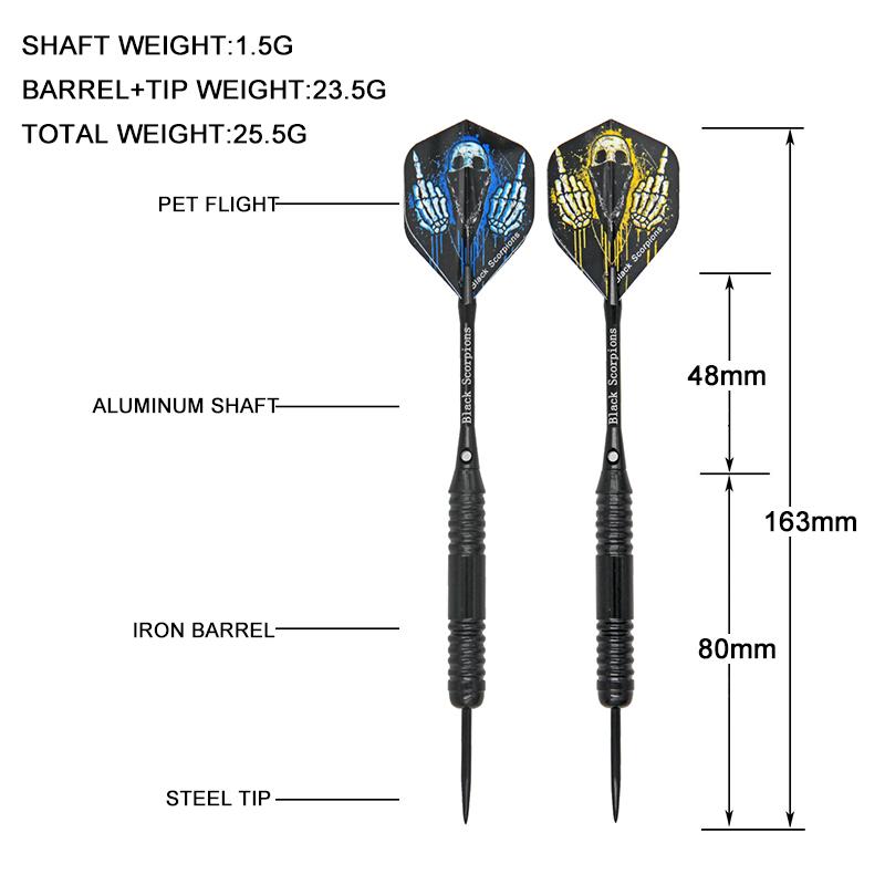 Darts Set 22g 3pcs//set Steel Tips Darts Set Barrels Aluminum Shafts PET Flights