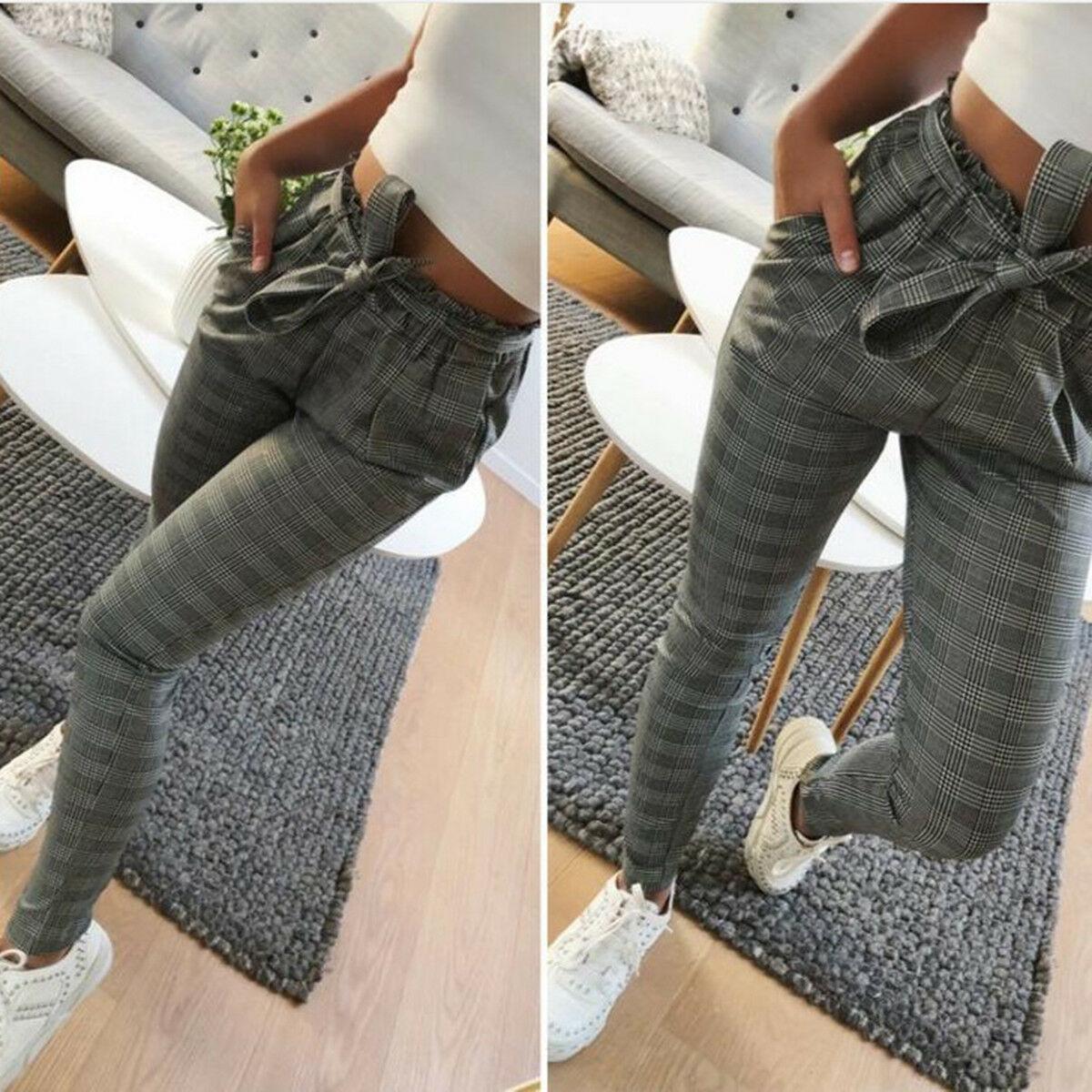 Women Pants,Womens Casual Loose High Waist Long Pencil Pants with Bow Tie Belt Striped Casual Pants Chaofanjiancai