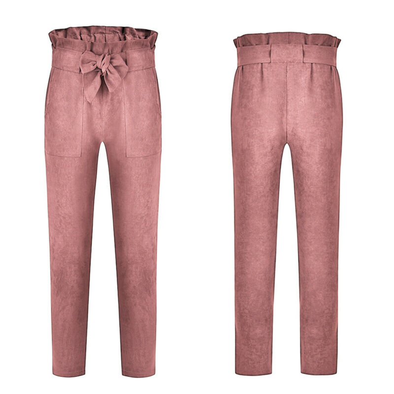 US-Women-039-s-Casual-Loose-High-Waist-Long-Pencil-Pants-with-Bow-Tie-Belt-Trousers thumbnail 16