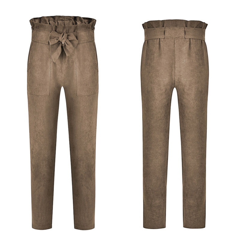 US-Women-039-s-Casual-Loose-High-Waist-Long-Pencil-Pants-with-Bow-Tie-Belt-Trousers thumbnail 30